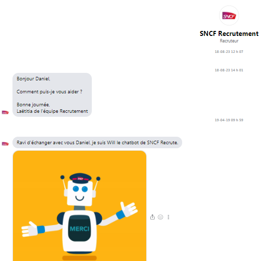 Chatbot recrutement SNCF